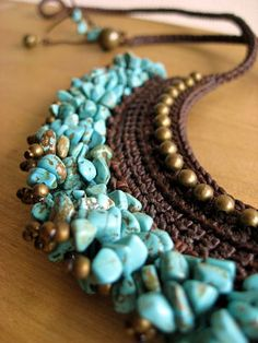 Ethnic Style Asian necklace - turquoise crochet necklace