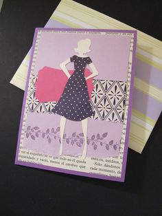 """A card I made in 2012. The assignment was purple. Used the """"Forever Young"""" Cricut cartridge."""