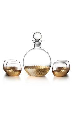 Free shipping and returns on American Atelier 'Daphne' Decanter & Whiskey Glasses (Set of 5) at Nordstrom.com. Add a touch of modern sophistication to your home bar with a sleek, roundeddecanter andwhiskey glass set featuring graphic metallic accents.