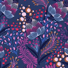 bellacaronia New colors in progress! Which is your favorite? This new one or the original green blue? Textile Patterns, Textile Prints, Print Patterns, Textiles, Flora Pattern, Pattern Art, Purple Pattern, Illustrations, Illustration Art