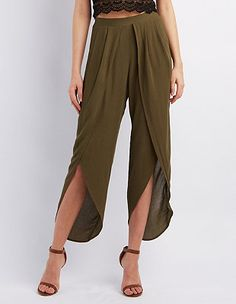 High-Rise Tulip Wrapped Pants: Charlotte Russe