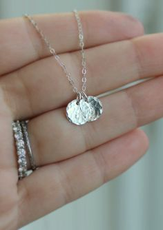 MOM Necklace, Two Initials, STERLING SILVER Initial Necklace, Two Letters, Dainty, Small, Hand Stamped, Two Children, Hammered Discs, Simpl