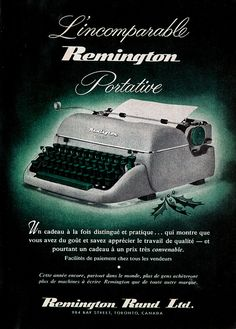 Vintage French Canadian ad for Remington Typewriters (1957). #vintage #1950s #office #typewriters #Christmas
