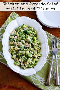 Chicken and Avocado Salad with Lime and Cilantro found on KalynsKitchen.com