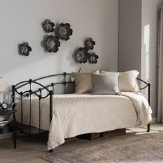Baxton Studio Hebe Victorian Style Antique Dark Bronze Finished Twin Size Metal Daybed