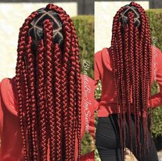 How to style the box braids? Tucked in a low or high ponytail, in a tight or blurry bun, or in a semi-tail, the box braids can be styled in many different ways. Red Box Braids, Short Box Braids, Blonde Box Braids, Black Girl Braids, Box Braids Styling, Braids For Black Hair, Girls Braids, Jumbo Box Braids, Big Box Braids Hairstyles