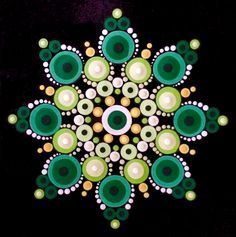 """This 5"""" x 5"""" finished mandala is the perfect pattern to paint for St. Patrick's Day, with a young person, or just because you love green. Travelling Kindness Rocks Pattern Club members can apply their promo code to receive 15% off this purchase."""