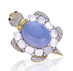Valentin Magro - Broche Tortue - Rubis, Diamants et Calcédoine