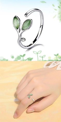 Cheap Fresh Green Young Leaves Ring Cute Opal Women Open Ring For Big Sale! Ladies Silver Rings, Unique Silver Rings, Silver Wedding Rings, Silver Bangles, Sterling Silver Rings, Silver Jewelry, Women's Jewelry, Jewellery, Womens Wedding Bands