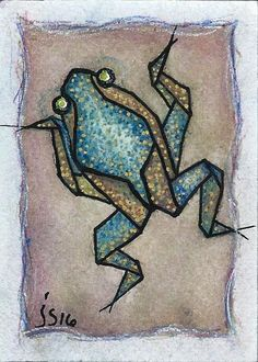 This little blue frog is one of my small art or ACEO. It is a geometric frog, hand painted and drawn with watercolor pencil and waterbased pen. This is a representation of a traditionnal origami frog. Origami Frog, Frog And Toad, Flash Art, Reptiles And Amphibians, Small Art, Identity Design, Cool Artwork, Wood Art, Miniatures