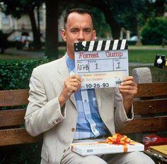 Tom Hanks behind the scenes of Forrest Gump, 1994.
