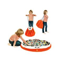 """Modern toy storage bags that are ideal for Lego storage and other small toys. Cleanup made simple. """"Just Swoop it up!"""" Made in USA. Toy Storage Solutions, Toy Storage Bags, Lego Storage, Storage Ideas, Lego Bag, Modern Toys, Wooden Train, Orange Bag, Lego Pieces"""