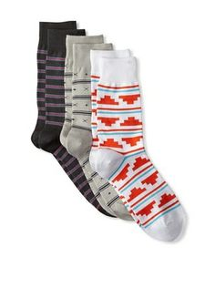 Richer Poorer Men's Assorted Casual Socks (3 Pairs) (Grey Multi)