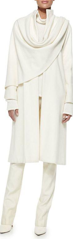 Ralph Lauren Collection Marielle Drape-Panel Coat: