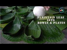 Banana Leaf Plates, Banana Leaves, Leaf Bowls, Plates And Bowls, How To Make Plantains, Leave Art, Leaf Crafts, Food Displays, Food Plating