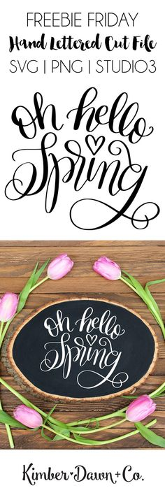 Hand Lettered Oh Hello Spring FREE SVG Cut File for Silhouette and Cricut Machines