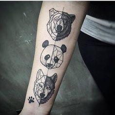 Geometric Panda Bear Tattoo On Arm