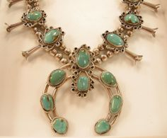 Large Old Navajo Sterling Silver Turquoise Squash Blossom Necklace #Jewelry #Deal #Fashion