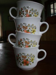 Vintage Corelle Indian Summer Tea Cups by MatriarchVintage on Etsy, $10.00. This was my grandparents dish set <3