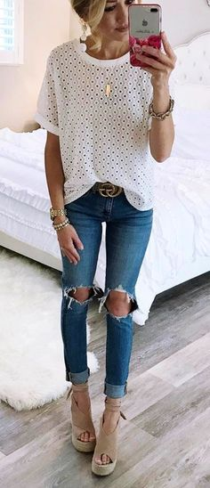 #Summer #Outfits / Ripped Jeans + Beige Heels