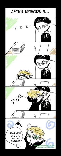 That's how my friends are when they steal my glasses. Plus, I think I look like William when I sleep... O.o #Black Butler