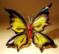 """Blown Glass Figurine """"Murano"""" Art Insect Black and Yellow BUTTERFLY"""