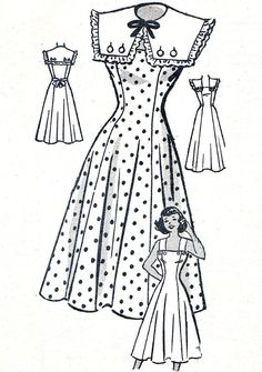 1950s Dress Pattern Princess Seam Full Skirt by paneenjerez, $20.00