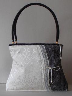Cotton brokate shoulder bag ,trimmed with lace