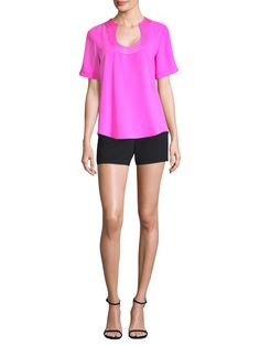 Trina Turk Haiden Scoopneck Top - Snap Dragon X-Large Trina Turk, Fitness Models, Scoop Neck, Short Sleeves, Spring, How To Wear, Dragon, Tops, Women
