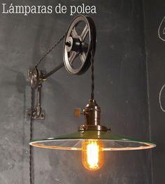 Decoración con lámparas de polea y estilo industrial