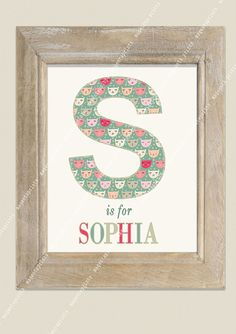 PERSONALISED INITIAL with NAME nursery childrens by magentaPRINTS, $25.00