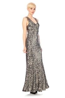French Connection all-over sequin maxi dress Ozlem Sequin Column Dress has a V-neck, slit at side, a zip at back and a satin lining with a sequin embellished net overlay. £230