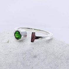 Sterling silver gemstone open ring green chrome diopside nearly there ring contemporary silver open ring solitare gemstone open ring - Jewelry Rings Jewelry Rings, Fine Jewelry, Jewlery, Solitare Ring, Open Ring, Beautiful Earrings, Statement Earrings, Gemstone Rings, Rings For Men