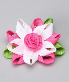This Hot Pink & White Flower Clip by Bubbly Bows is perfect! #zulilyfinds