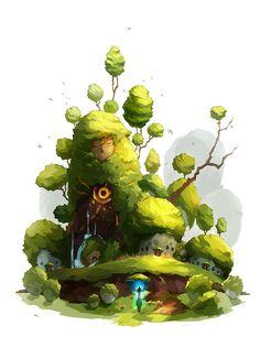 The entrance of strange forest, meejoo lee on ArtStation at https://www.artstation.com/artwork/the-strange-forest-entrance