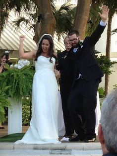 In place of a Chuppah mark the nuptial area with columns.  Real Wedding: Hilton Marina Fort Lauderdale.