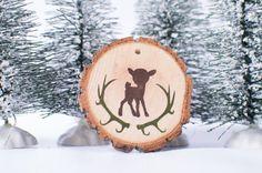 Wood slice ornament -- antler ornament, Rustic ornament, Wood ornament ,Christmas ornament, Rustic Christmas,rustic decor, rustic,deer decor on Etsy, $10.00