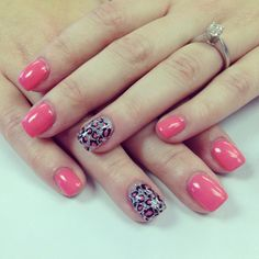 """Entity one gel nails with """"pretty precious peonies"""" and glitter accent nails with cheetah print. Nails by Stephanie Sullivan"""