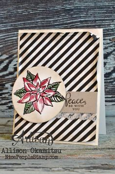 The Reason for the Season stamp set is SO stunning. The beautiful poinsettia image is created by stamping three different stamps on top of one another. And since this set comes in photopolymer, it's easy to line up the images. - Allison Okamitsu