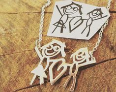 ♥ F L A S H ∙ S A L E ∙ 40% OFF ∙ L I M I T E D ∙ T I M E ∙ O N L Y ♥  ♥ Be the artist. Immortalize your child's first drawing, or one of your own doodles. One-of-a-kind Wearable Art you can find, perfect gift for you and your loved one ♥ D R A W I N G ∙ N E C K L A C E  • Material: High Quality Solid 925 Sterling Silver • Finish: Sterling Silver ∙ 18K Gold ∙ Rose Gold • Personalization: This design can be customized with your Signature, Handwritten Messages (Cursive or Print), Drawing. •…