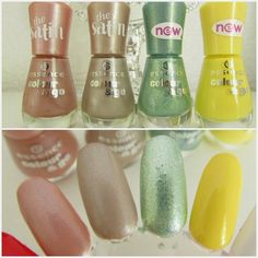 essence colour&go nail polish swatches - 188 dare to kiss (satin), 189 new york city call (satin), 190 kiss me freddy, 191 love is in the ai...