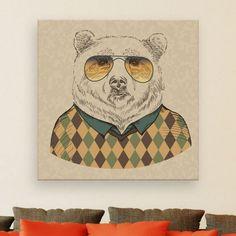 Un portrait d'un ours humanisé à la sauce hipster pour une décoration murale vraiment cool!