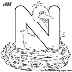 Sesame Street Free Alphabet Coloring Pages