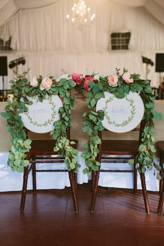 Love the arrangements on the Bride & Groom chairs. Great job done by Poppy and Mint