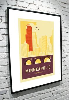 Minneapolis Skyline 8x10 Poster by TamiBohnDesign on Etsy