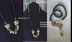 Pearl,Crystal, Black & Gold Lucet Cord Necklace and Bracelet Set