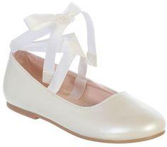 Bella Ballet Flat Shoe, White for 1st Communion or Easter from CatholicSupply.com