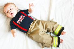 Personalized Firefighter Outfit For Baby Looks Just Like Turnout Bunker Gear With Customized Department on Front on Etsy, $39.00