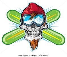 Snowboard Ski Image by Shutterstock Cool Skull Tee Men/'s