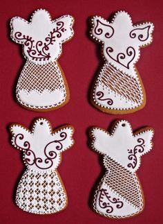 Lemon Foam: Gingerbread pečení a zdobení Royal Icing Cookies, Cookie Decorating, Gingerbread, Caramel, Deserts, Fondant, Food And Drink, Christmas, Fun